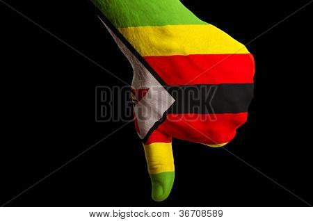 Zimbabwe National Flag Thumbs Down Gesture For Failure Made With Hand