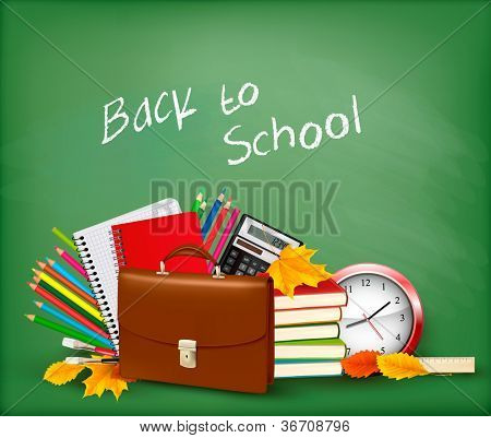 Back to school Background with school supplies and open zipper Vector