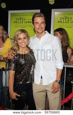 "LOS ANGELES - SEP 10:  Shawn Johnson, Derek Hough arrives at ""The Perks of Being a Wallflower"" Premiere at ArcLight Cinemas on September 10, 2012 in Los Angeles, CA"