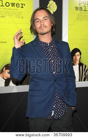 "LOS ANGELES - SEP 10:  Tyler Blackburn arrives at ""The Perks of Being a Wallflower"" Premiere at ArcLight Cinemas on September 10, 2012 in Los Angeles, CA"