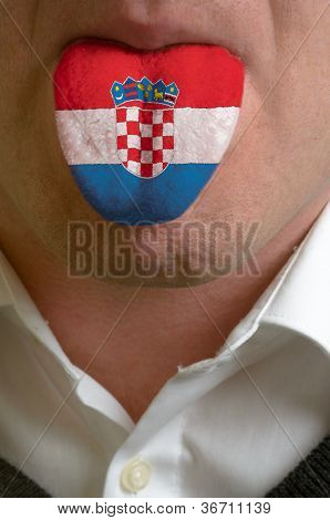 Man Tongue Painted In Croatia Flag Symbolizing To Knowledge To Speak Foreign Language