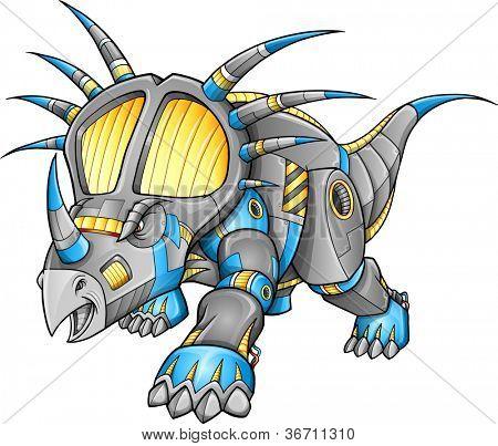 Robot Machine Triceratops Dinosaur Vector Illustration