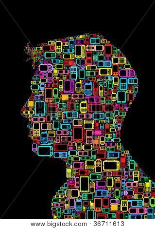 Profile silhouette of a man made with cellphones and smartphones in black background