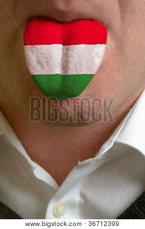 Man Tongue Painted In Hungary Flag Symbolizing To Knowledge To Speak Foreign Language