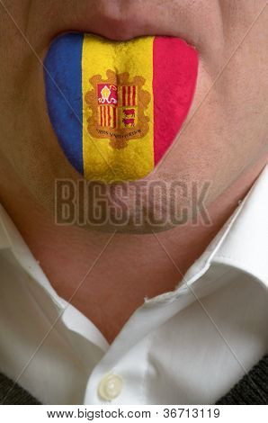 Man Tongue Painted In Moldova Flag Symbolizing To Knowledge To Speak Foreign Language