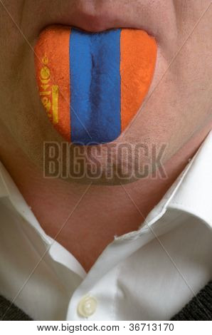 Man Tongue Painted In Mongolia Flag Symbolizing To Knowledge To Speak Foreign Language
