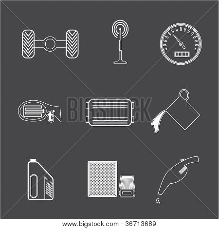 Car Parts icon set 2