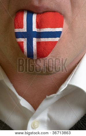 Man Tongue Painted In Norway Flag Symbolizing To Knowledge To Speak Foreign Language
