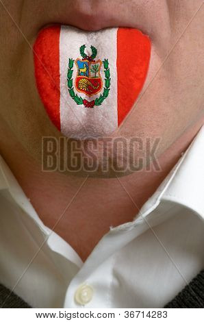 Man Tongue Painted In Peru Flag Symbolizing To Knowledge To Speak Foreign Language