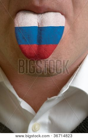 Man Tongue Painted In Russia Flag Symbolizing To Knowledge To Speak Foreign Language