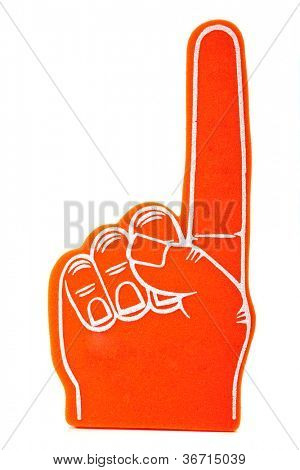 Orange foam spirit finger signifying