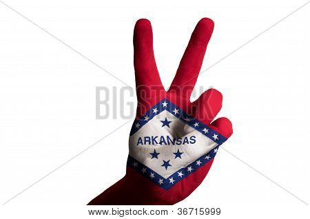 Arkansas Us State Flag Two Finger Up Gesture For Victory And Winner Symbol Made With Hand