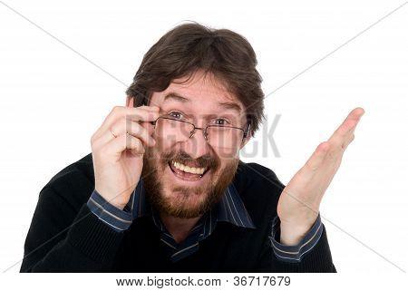 Joyful Bearded Man Wearing Spectacles