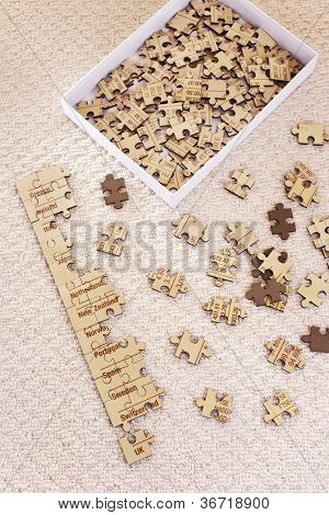 Unsolved bunch of jigsaw puzzle pieces