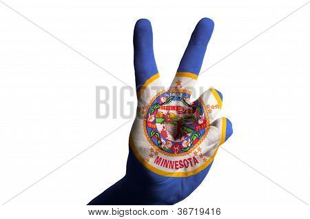 Minnesota Us State Flag Two Finger Up Gesture For Victory And Winner Symbol Made With Hand