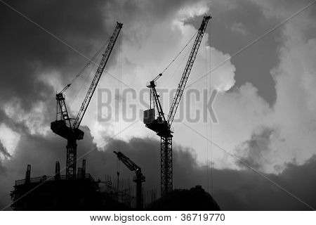 Construction Site 2 - black and white