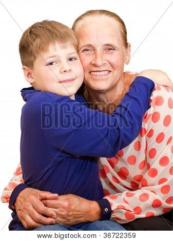 Happy Grandmother Hugging 7 Years Grandson