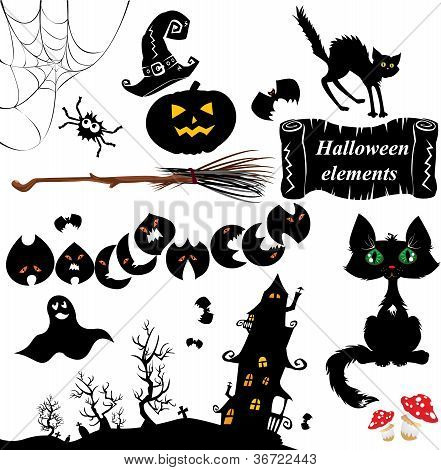 Set Of  Halloween Elements - Pumpkin, Bats, Ghost, Cat, Mistery House And Other Terrifying Things