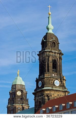 Towers of the Kreuzkirche and Townhall
