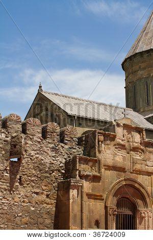 Facade Of Old Orthodox Church Of Jvari, Georgia
