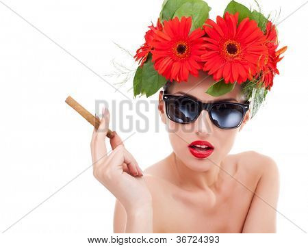beautiful young woman wearing a red flower wreath on her head, sunglasses and holding a cuban cigar in her hand