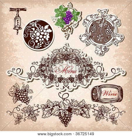Hand drawn vector set of wine, grapes and winemaking.
