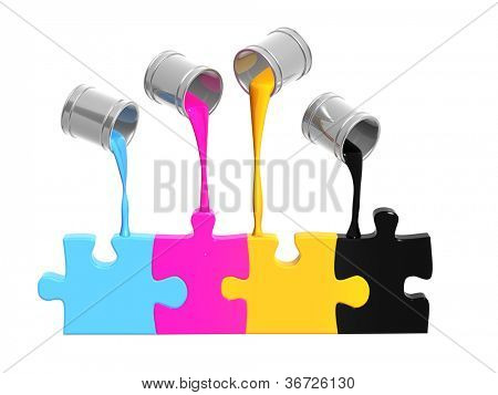 Conceptual image - a palette CMYK. Objects isolated over white