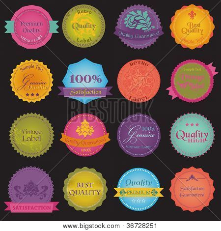 Quality and Guarantee Colorful Labels with vintage design in ...