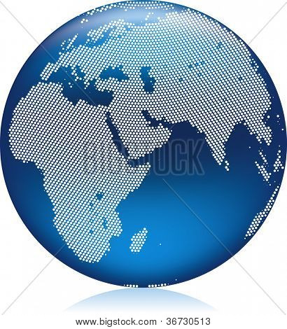 Vector illustration of shiny blue Earth globe with round pattern dots, northern hemisphere