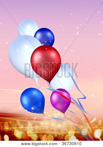 toy balloons soaring in the sky