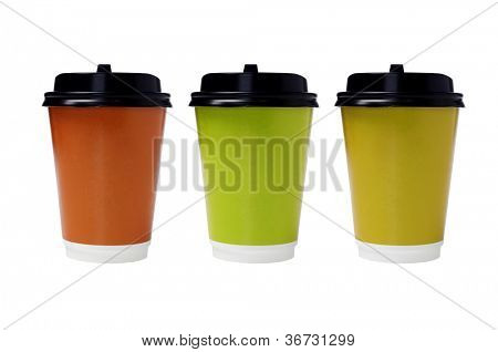 Color Disposable Paper Cups with Lids on White Background