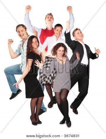 Постер, плакат: Счастливый улыбается прыжки группы, холст на подрамнике
