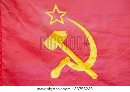 Red flag with hammer and sickle