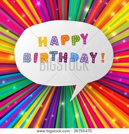 Happy birthday card on colorful rays background. Raster version, vector file available in portfolio.