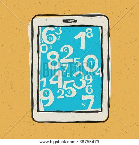 Tablet device waith abstract digits. Raster version, vector file available in portfolio.