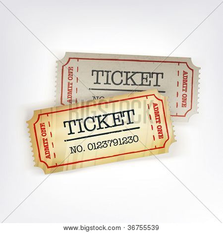 Two tickets. Raster version, vector file available in portfolio.