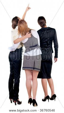 back view of business team. three young  woman pointing.  Rear view people collection.  backside view of person.  Isolated over white background.