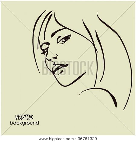 art sketching vector dour girl face  symbols