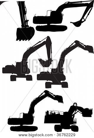 illustration with set of diggers isolated on white background
