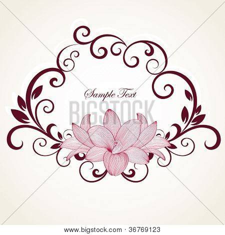 Hand-drawing floral frame with flower lily. Element for design. Vector illustration.