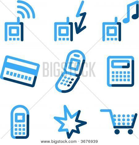 Mobile Phone Icons, Blue Contour Series
