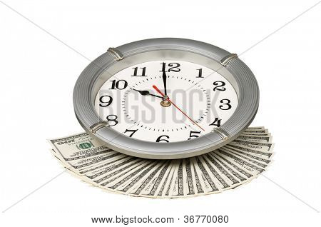 Heap of dollars with clock isolated on a white background