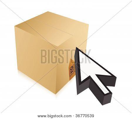 box and cursor illustration design over white