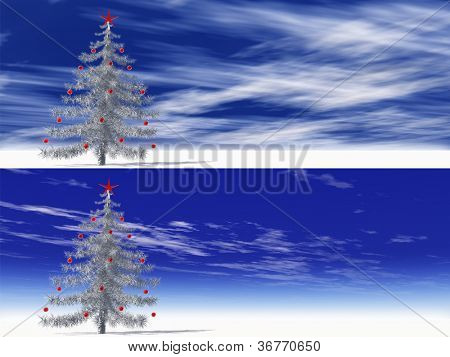 High resolution conceptual gray or silver 3D fir tree with red glass ornaments and a star on  snow over a blue sky.A set,group or collection of banners ideal for holiday,christmas or religion