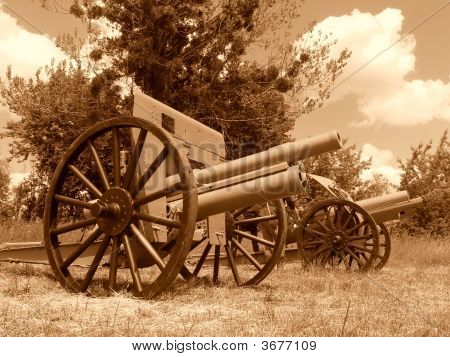 Obsolete Cannons Of First World War, Sepia