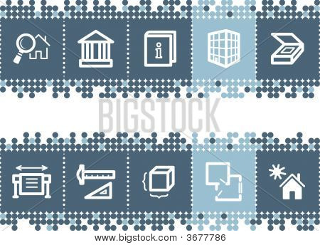 Blue Dots Bar With Building Icons