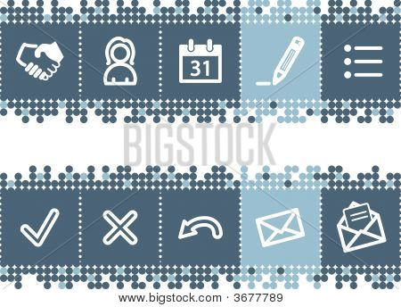 Blue Dots Bar With Business Contacts Icons