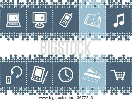 Blue Dots Bar With E-Shop Icons