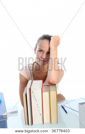 Despondent Scholar With Her Textbooks