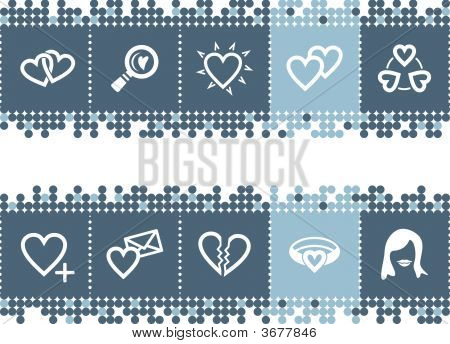 Blue Dots Bar With Love Icons
